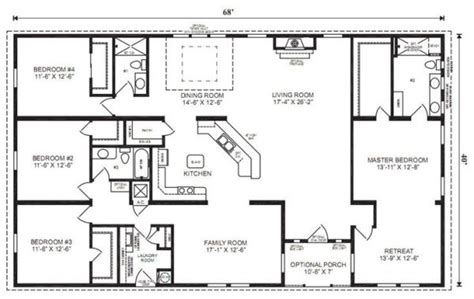 simple 4 bedroom house plans ranch house floor plans 4 bedroom this simple no watered space plan add a wraparound