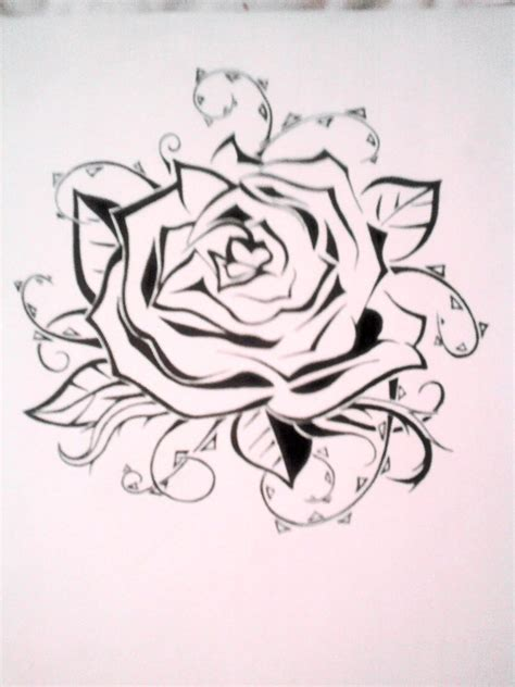 rose tattoo template stencil by emkittyart on deviantart