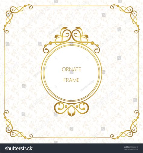 template place cards gold border vector decorative frame gold element stock vector