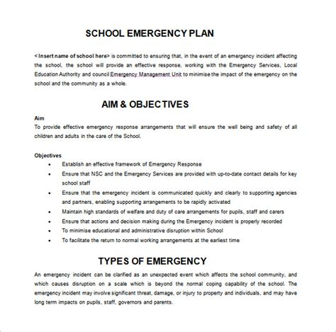 school emergency preparedness plan template 14 emergency plan templates free sle exle