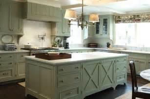 Kitchen design with green gray kitchen cabinets amp kitchen island
