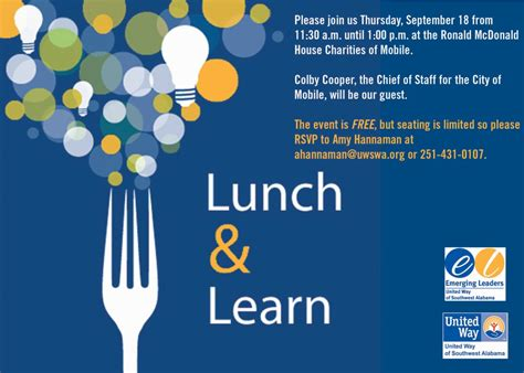 Emerging Leaders Lunch And Learnunited Way Of Southwest Lunch And Learn Template