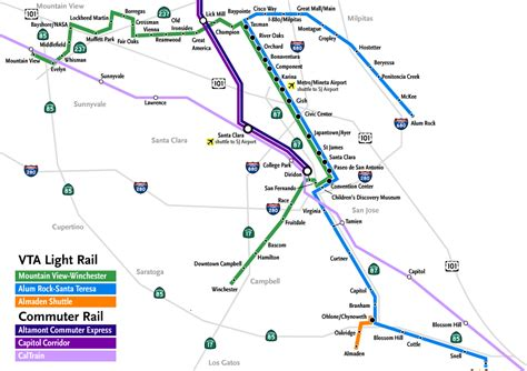 vta light rail map what cities are evolving into major cities best state largest city vs city page 28