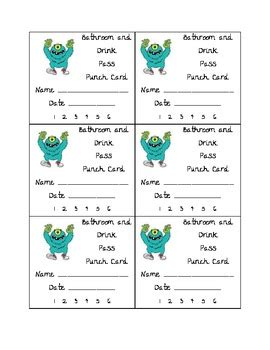 bathroom pass punch card bathroom and drink punch card by teaching 5th in il tpt