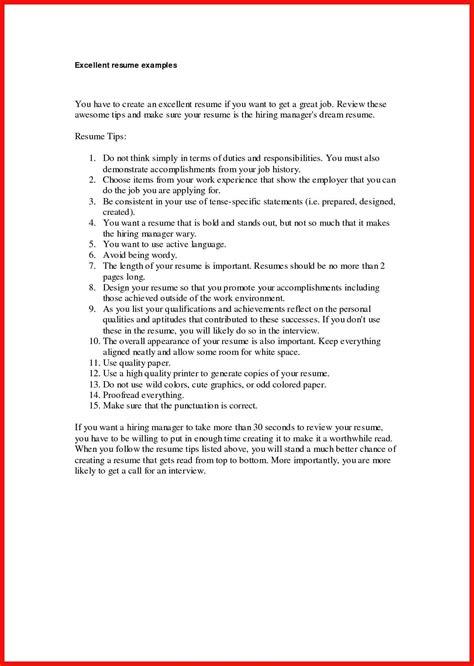 excellent resume exles free excellent resume exle apa exle