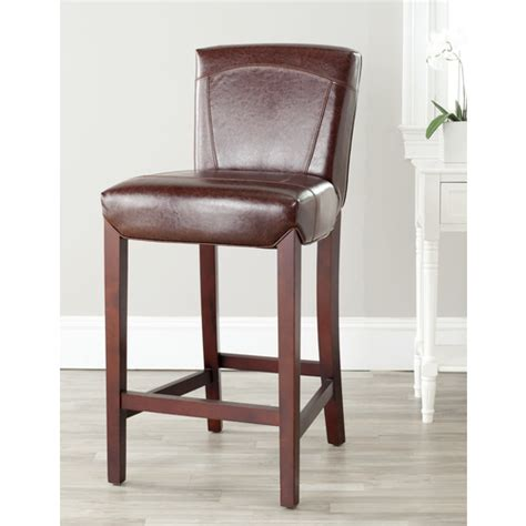 Lowes Outdoor Bar Stools by Safavieh Brown Leather Ken Counter Bar Stool From Lowes