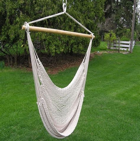 Hammock Swing Chair - deluxe large white rope cotton hammock swing chair