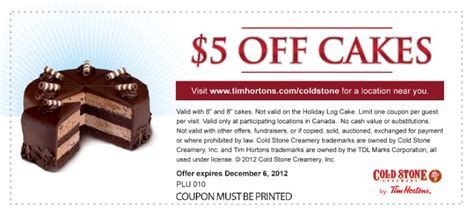 cold stonetim hortons coupons