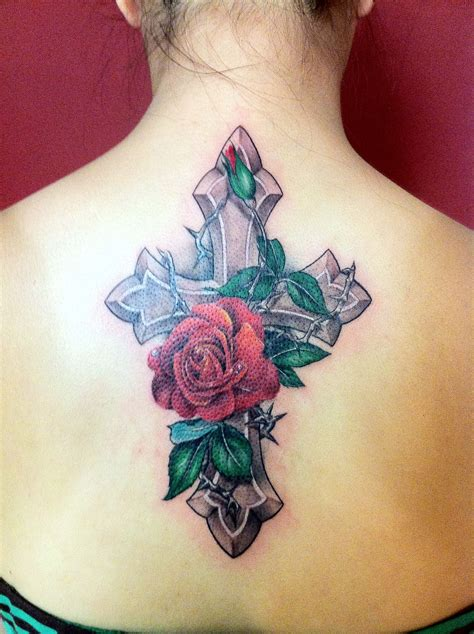 new cross tattoo cross flower new by