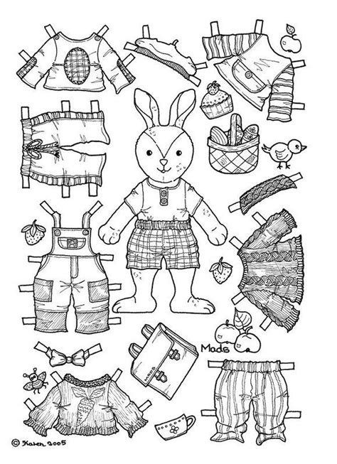 rabbit cut out paper doll see my profile for purchasing 94 best paper dolls coloring art print pages colouring for