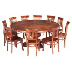 solid wood dining room table sets large round rustic solid wood dining table chair set