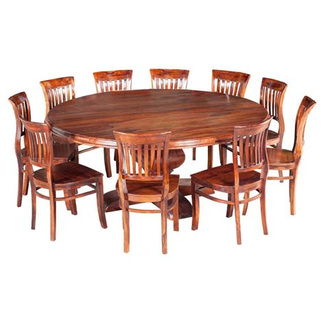 rustic large dining room table chair set for 10 people sierra nevada large round rustic solid wood dining table