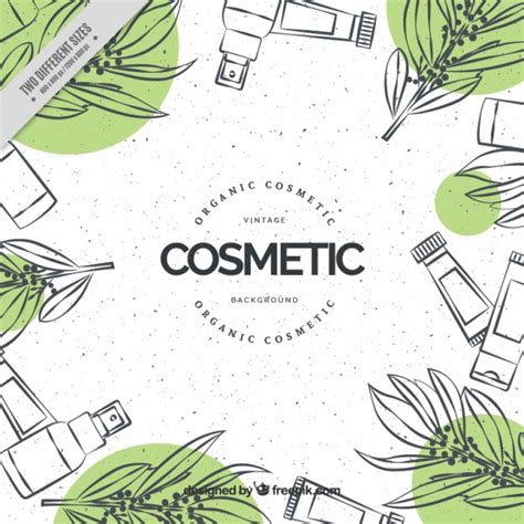 hand drawn cosmetics natural background vector free download