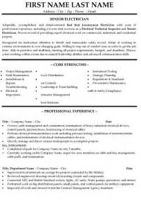 senior electrician resume sle template