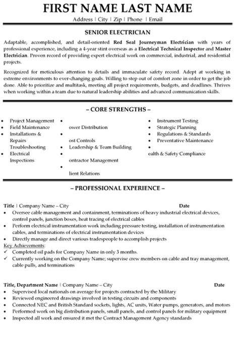 Resume Templates Auto Electrician Senior Electrician Resume Sle Template