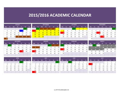 2015 2016 academic calendar templates