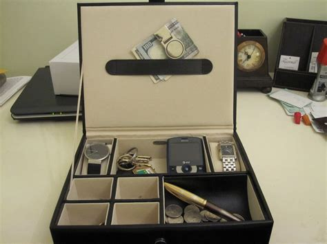 black s 6 compartment valet jewelry box