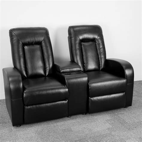 Black Leather Theater Recliner by Eclipse Series 2 Seat Reclining Black Leather Theater Seating Unit With Cup Holders Bt 70259 2