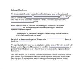standby letter of credit template standby letter of credit form sle sle letter of