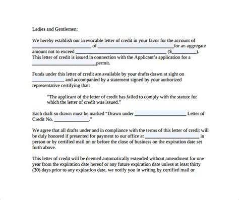 Letter Of Credit Form Pdf Letter Of Credit 9 Free Sles Exles Formats