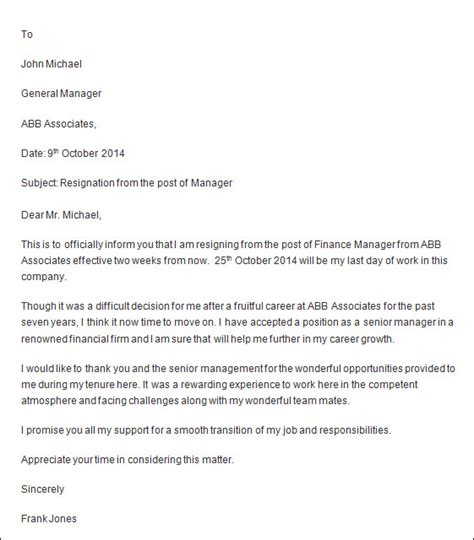 Resignation Letter Subject Line Exles Professional Resignation Letter Sle 4 Documents In Pdf Word