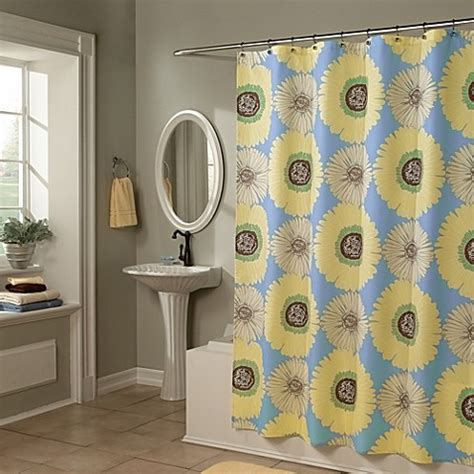 blue and yellow shower curtain sunflowers yellow blue 70 inch x 72 inch shower curtain