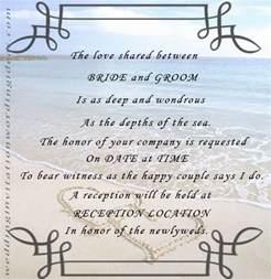 beach party invitation wording examples wedding