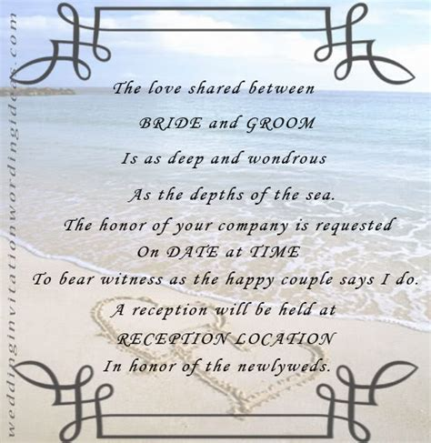 Beach Wedding Invitations Wording