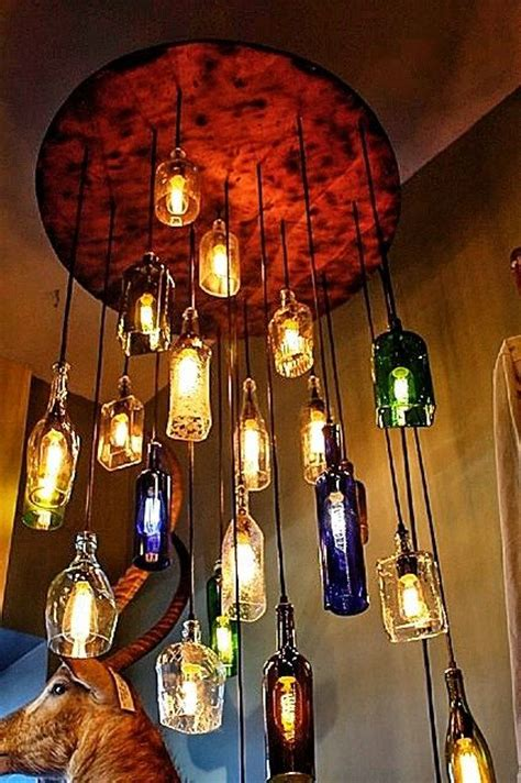 Whiskey Bottle Chandelier Salvaged Liquor Bottle Chandelier