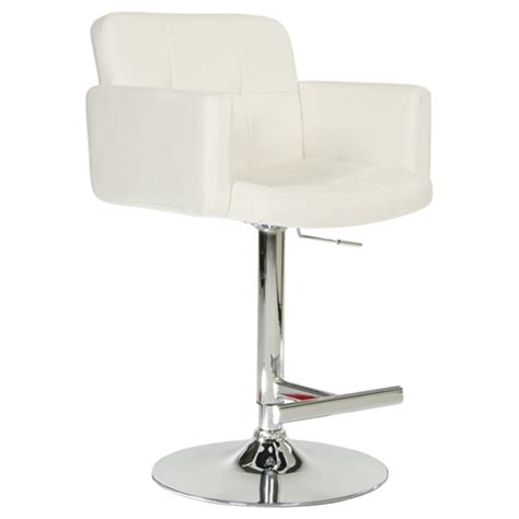 Modrest Lindy Contemporary White Leatherette Bar Stool | modrest lindy leatherette bar stool adjustable height