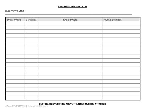 Employee Log Template best photos of log template employee