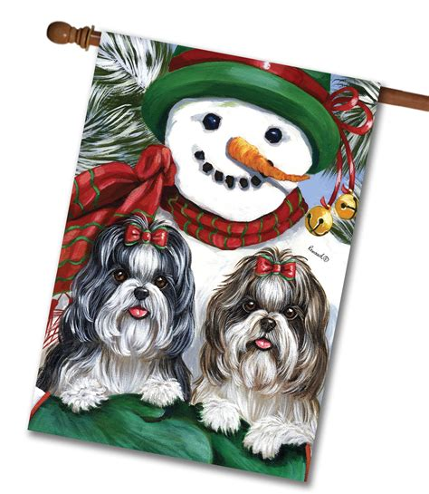 shih tzu house shih tzu snowman house flag 28 x 40 custom printed flags flagology