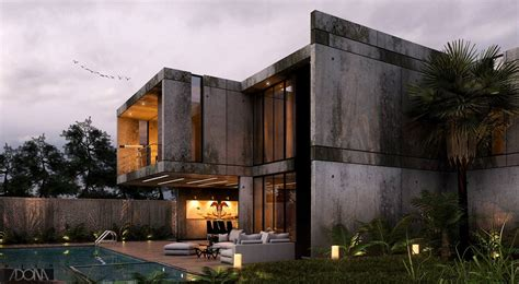 model modern house  pool  byron galvez