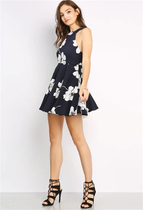milianti flowery flare mini dress flower patterned flare mini dress shop day dresses at