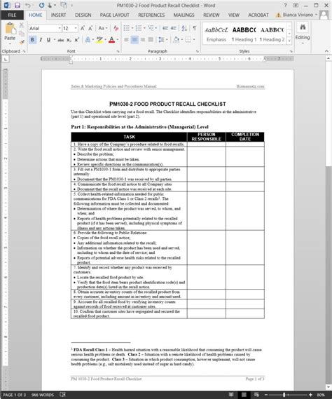 Food Product Recall Checklist Template Brand Review Template