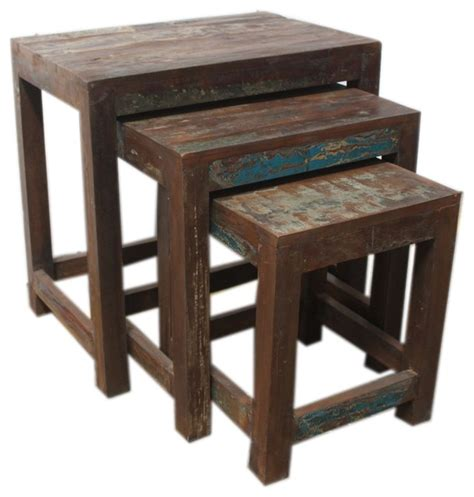 reclaimed wood nest of tables rustic side tables and
