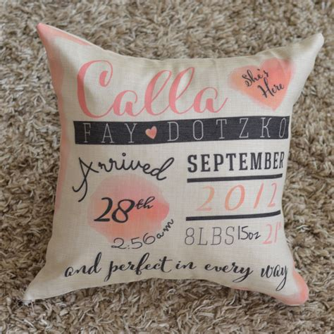 Birthing Pillow by Personalized Birth Announcement Pillow Monkey Designs