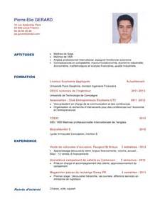 sle resume with licenses exemple de cv 233 tudiant licence sle resume