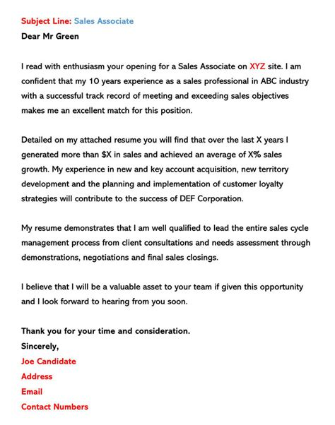 sample email cover letters examples write send