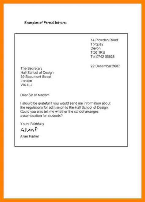 6 formal letter format english target cashier