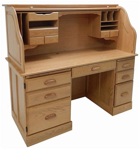 Roll Top Computer Desks For Home 60 Quot W Solid Oak Rolltop Computer Desk In Sand Finish In Stock