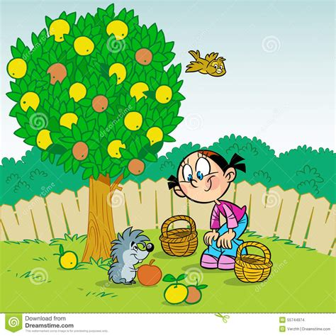 garten clipart fille et h 233 risson dans le jardin illustration de vecteur