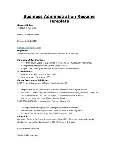 Resume Objective Business by Business Administration Resume Getessay Biz