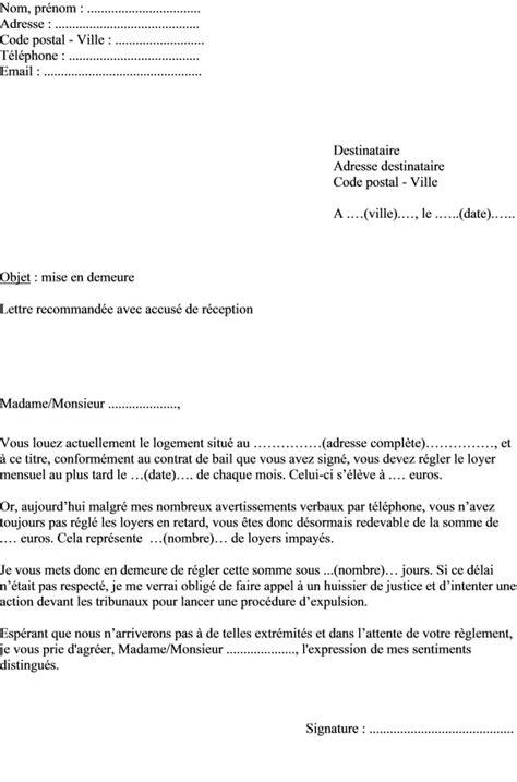 Exemple Lettre De Recommandation Locataire Exemple De Mise En Demeure Locataire Document