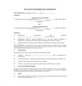 distribution agreement template 10 distribution agreement templates free sle