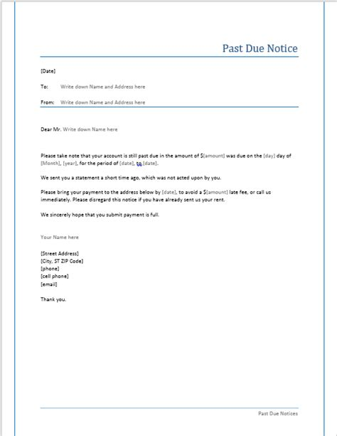 Past Due Notice Template Microsoft Word Templates Past Due Rent Letter Template