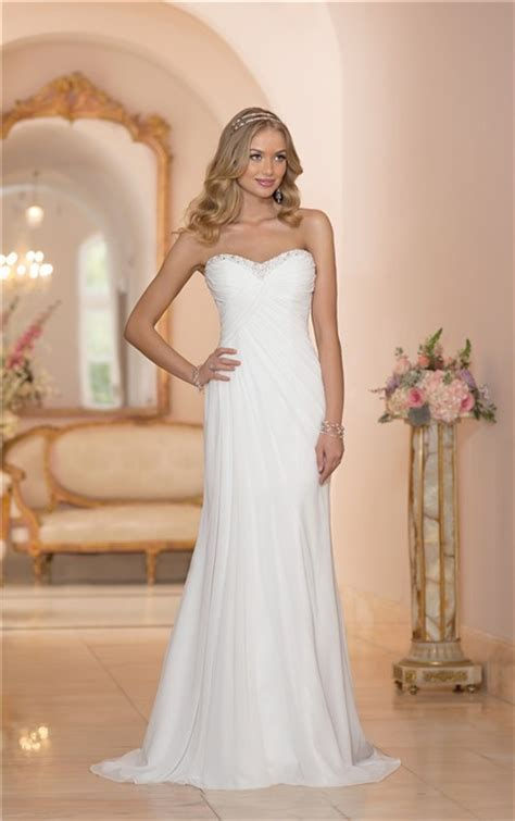 fitted strapless chiffon ruched corset destination wedding