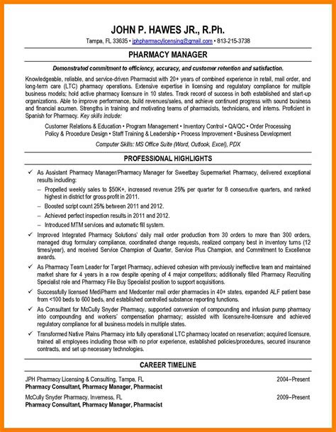 Retail Pharmacist Resume by Retail Pharmacist Resume Sle Cover Letter Sles