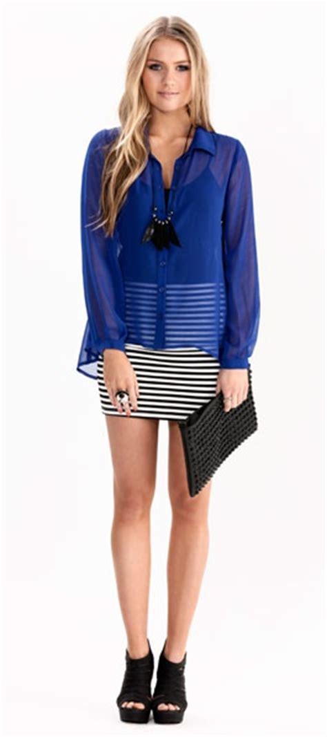 Blouse Atasan Blue Stripe Flowy Hv tight skirt flowy blouse fashion style cobalt blue dress sheer tops