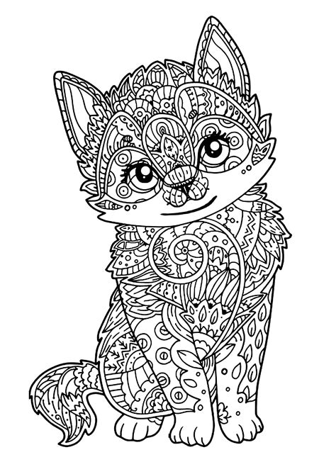 geometric cat coloring pages mignon chaton animaux coloriages difficiles pour